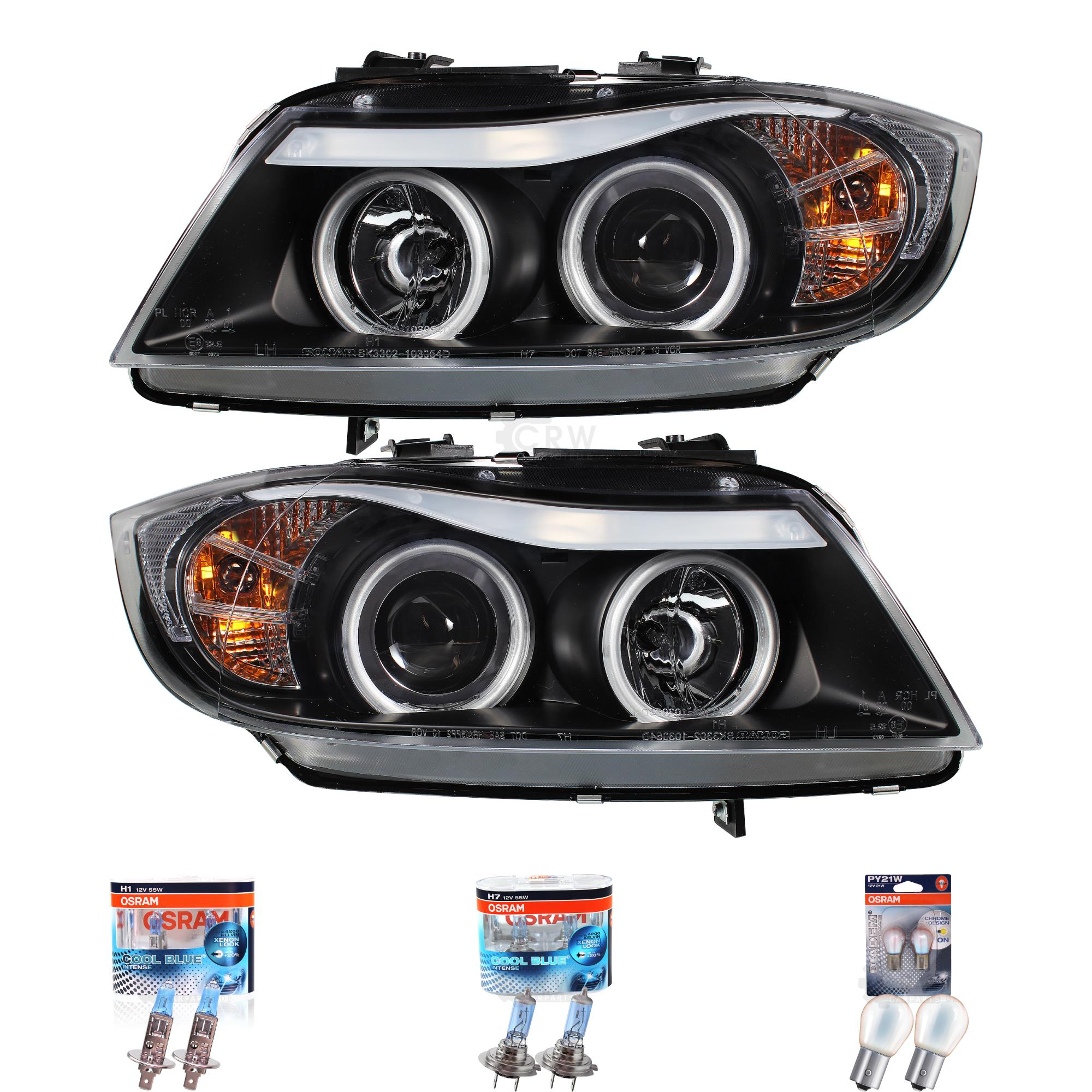 headlights set bmw 3er e90 e91 ccfl 05 08 black incl. Black Bedroom Furniture Sets. Home Design Ideas