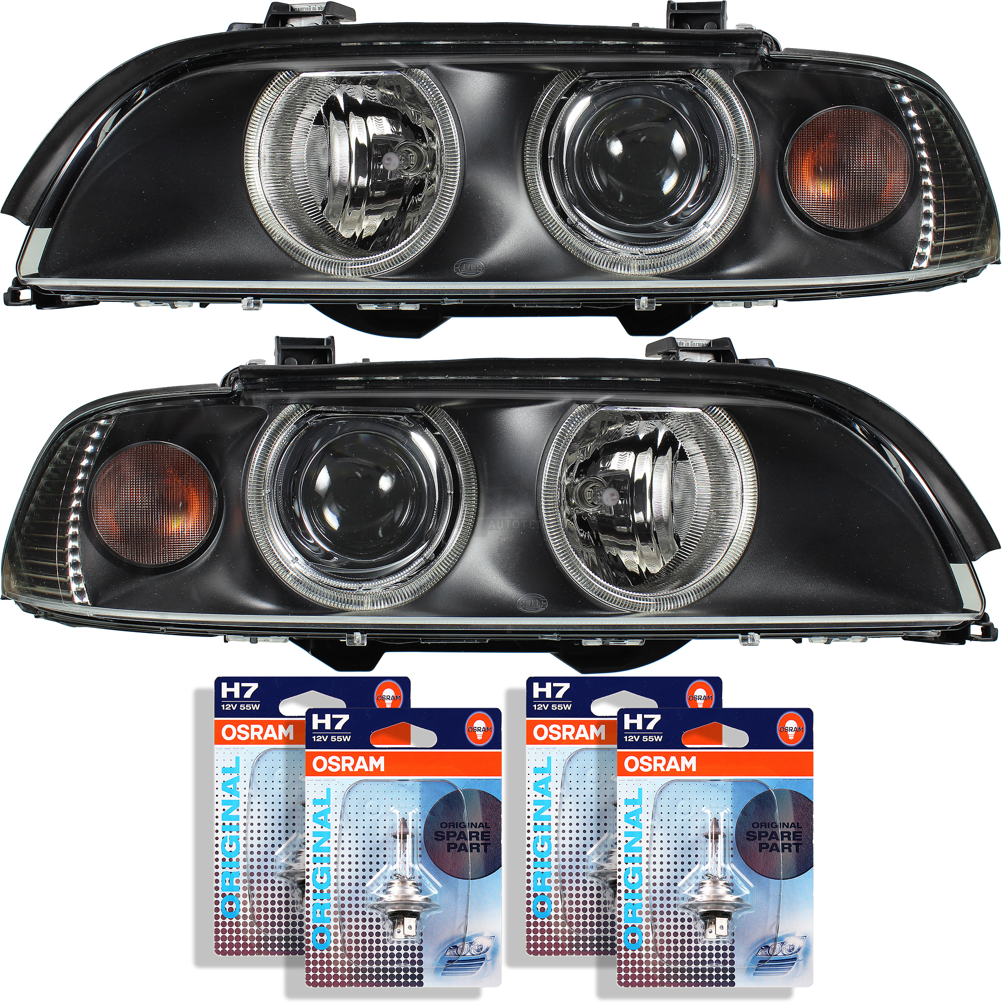 hella headlight set bmw 5er e39 manufactured 00 03. Black Bedroom Furniture Sets. Home Design Ideas