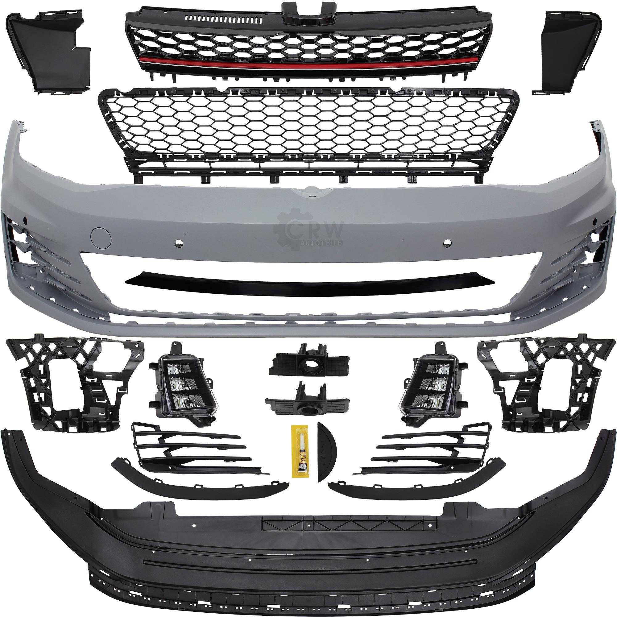 Stoßstange + Grill vorne lackierfähig VW Golf VII 7 GTI Look Optik ...