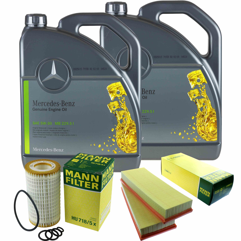Inspektionspaket-10L-Mercedes-Ol-229-51-5W30-MANN-Luftfilter-Olfilter-11134262