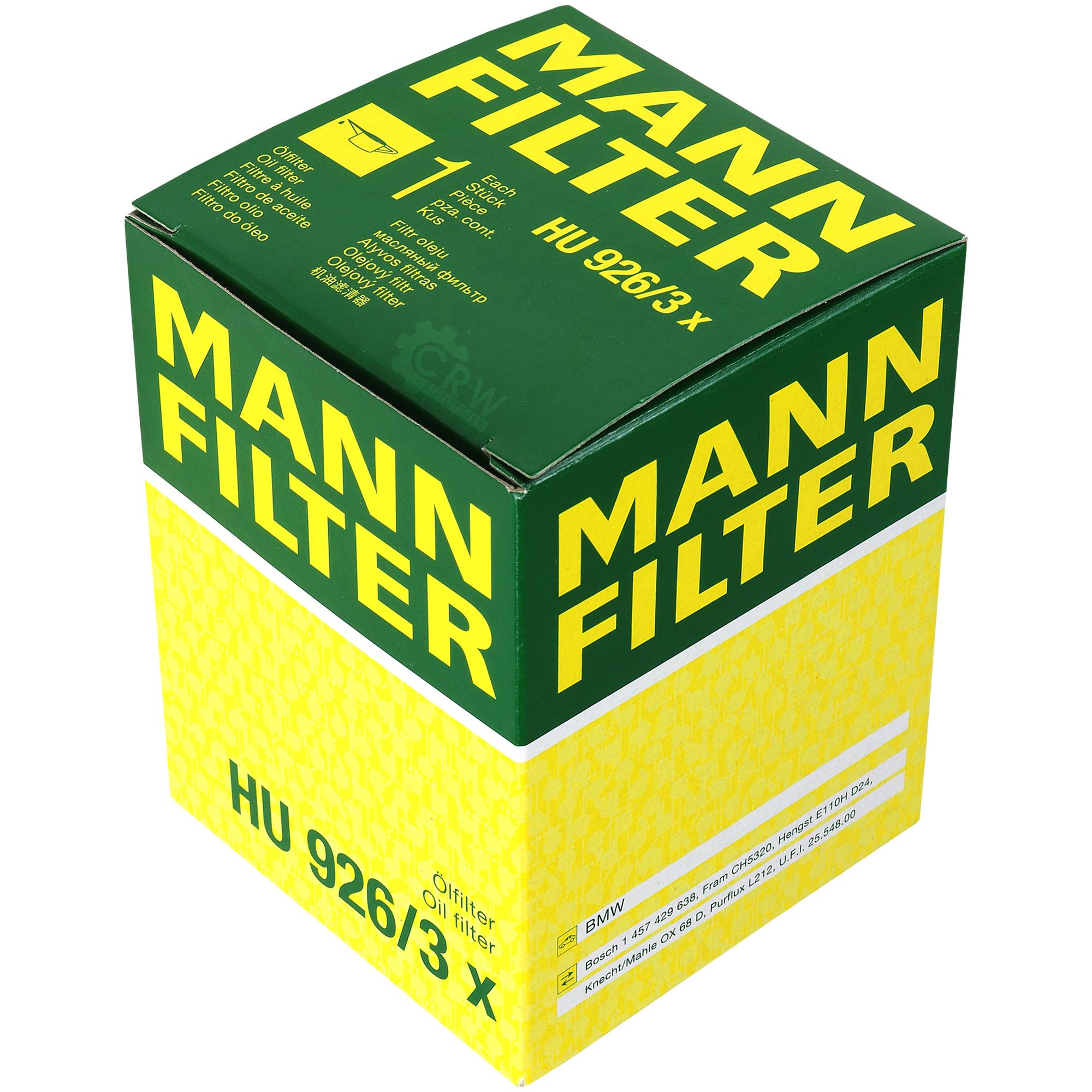 MANN-FILTER ÖLFILTER HU 926//3 X BMW 3