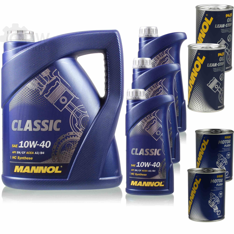 8L-Motoroel-MANNOL-Classic-10W-40-2x-MANNOL-Leak-Stop-ADDITIV-Motor-Flush