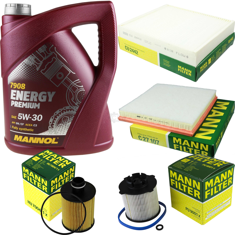 MANNOL-5L-Energy-Premium-5W-30-MANN-FILTER-Filterpaket-Opel-Astra-J-W13-2-0-CDTi
