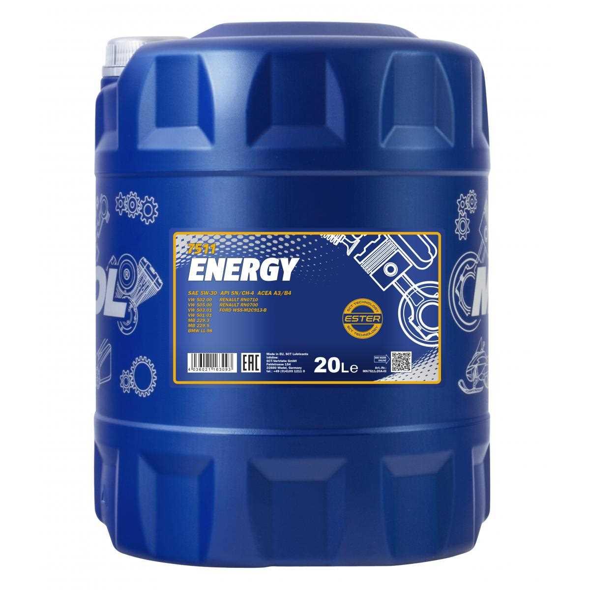 100L MANNOL Energy 5W-30 API SL/CF Öl Motoröl MN7511-20