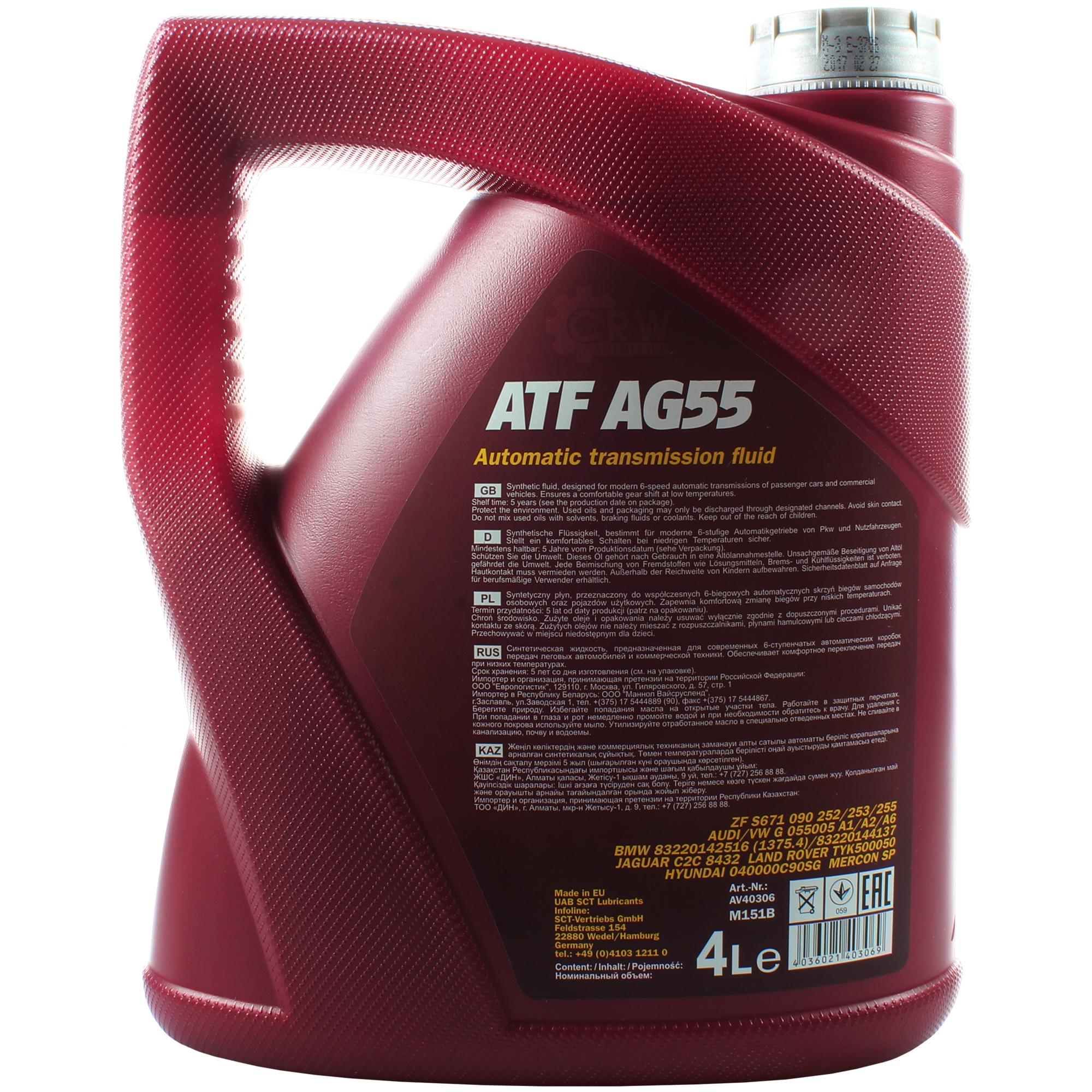 8x 4 Liter Mannol Hydraulic Oil Atf Ag55 Fluid Automatic Transmission Ebay